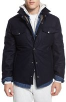 Brunello Cucinelli Flannel Wool-Blend Shirt Jacket, Navy