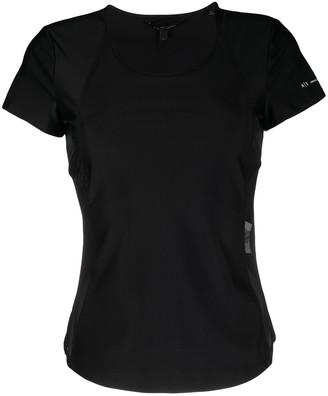 Armani Exchange sheer-panelled short-sleeved T-shirt