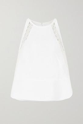 Chloé Crochet-trimmed Linen And Cotton-blend Top - White