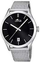 Lotus Men's Quartz Watch with Black Dial Analogue Display and Silver Stainless Steel Bracelet 18108/2