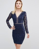 AX Paris Plunge Front Mini Dress With Lace Sleeves