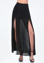 Pleated Maxi Skirt With Slit - ShopStyle