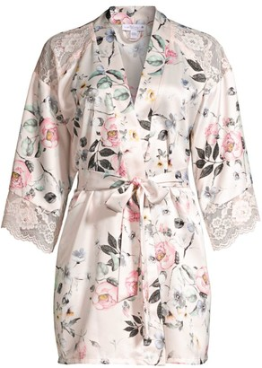 In Bloom Winding Road Lace-Embellished Floral Satin Robe