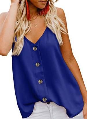 Actloe Women V Neck Button Down Spaghetti Strap Tank Top Summer Casual Sleeveless Shirts Blouses