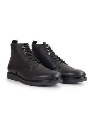 H By Hudson Battle Leather Boots Colour: BLACK, Size: UK 8