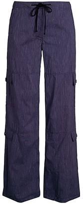 Theory Striped Cotton Linen Wide-Leg Utility Pants