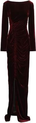 Alberta Ferretti Open-back Ruched Velvet Gown