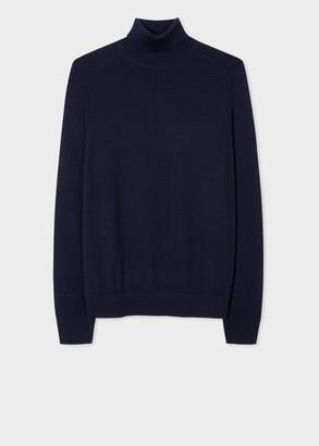 Men's Navy Merino Roll-Neck Sweater With 'Signature Stripe' Trim