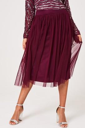 Little Mistress Emma Plum Tulle Skirt Co-ord