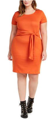 Planet Gold Trendy Plus Size Juniors' Tie-Waist Dress