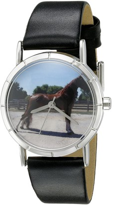 Whimsical Watches Tenessee Walker Horse Black Leather and Silvertone Photo Unisex Quartz Watch with White Dial Analogue Display and Multicolour Leather Strap R-0110031
