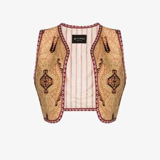 Etro Womens Brown Tapestry Cropped Waistcoat