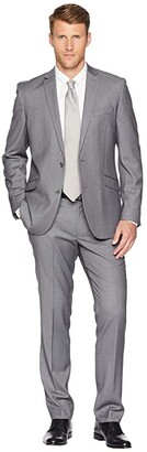 Kenneth Cole Reaction Unlisted Slim Fit Stretch 32 Finished Bottom Suit (Grey Stripe) Men's Suits Sets
