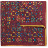 Drakes Drake's - Printed Wool And Silk-blend Pocket Square - Burgundy