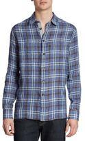 Luciano Barbera Plaid Linen Casual Button Down Shirt