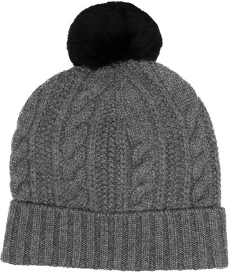 N.Peal Shearling Pom Cable Beanie