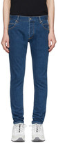 Balmain Blue Slim Embossed Logo Jeans