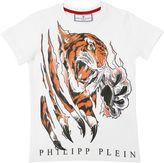 Philipp Plein Junior Tiger Printed Cotton Jersey T-Shirt