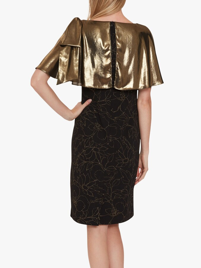 Thumbnail for your product : Gina Bacconi Catina Metallic Fitted Dress, Black/Gold