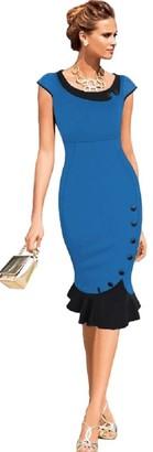 Ro Rox New Rockabilly Pencil Wiggle 50's Vintage Retro Style Fishtail Dress (S - UK 8