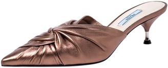 Prada Metallic Bronze Leather Kitten Heel Twist Mule Sandals 38.5