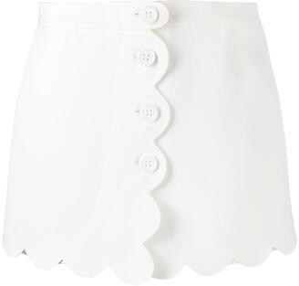 RED Valentino Scalloped-Edge Layered Shorts