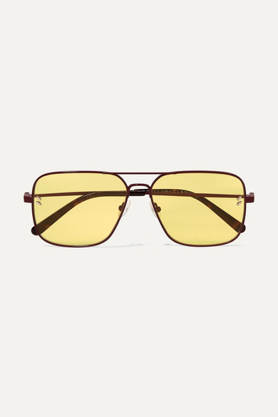 Stella McCartney Aviator-style Metal And Tortoiseshell Acetate Sunglasses - Yellow