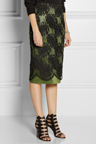 Jason Wu Embroidered lace and satin skirt