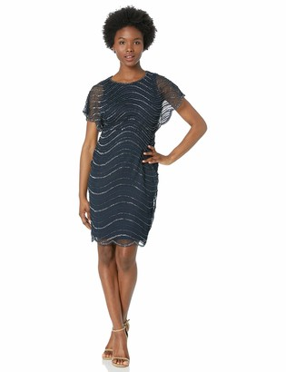 Adrianna Papell Women's Petite Wavy Beaded Dress with Sheer Flutter Sleeves