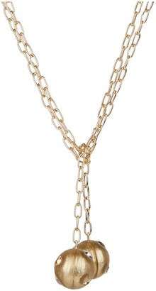 Alexis Bittar Crystal-Studded Lucite Sphere Chain-Link Long Sautoir Necklace