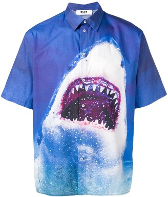 MSGM shark print shortsleeved shirt
