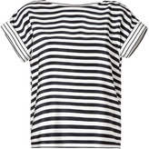 Tibi Black/Ivory Striped Silk Top