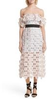 Self-Portrait Women's 3D Floral Lace Off The Shoulder Midi Dress