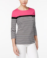 Karen Scott Striped Colorblocked Active Top, Created for Macy's
