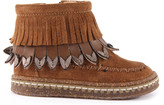 Ocra Fringe Suede Zip-Up Boots