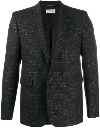 Saint Laurent Lame Check Single-Breasted Blazer