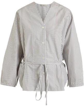Three Graces London Fillide Striped Cotton Pyjama Shirt - Black Stripe