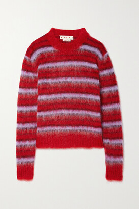 Marni - Brushed Striped Mohair-blend Sweater - Red