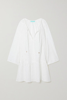 Melissa Odabash Corina Lace-trimmed Broderie Anglaise Cotton Kaftan - White