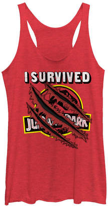 Fifth Sun Jurassic Park Women I Survived Claw Marks on Logo Tri-Blend Tank Top