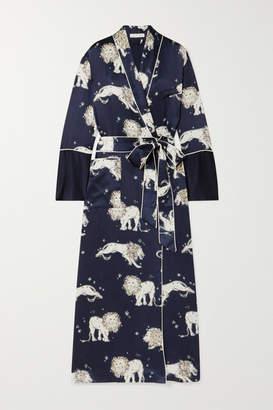 Olivia von Halle Capability Printed Silk-satin Robe - Royal blue
