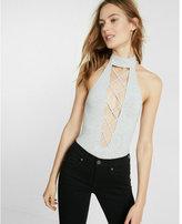 Express one eleven crisscross front thong bodysuit