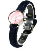 Mother of Pearl Carvel Dial Girls Denim Strap Fashion Watch A390.16AV