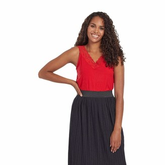 Tribal Women's V Neck CAMI W/LACE-RED Haute XL