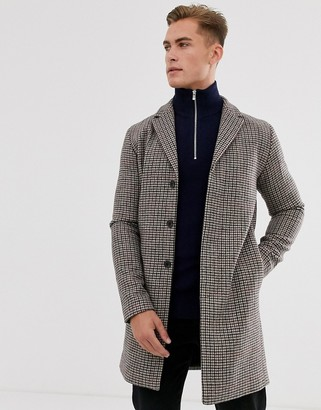 Selected recycled wool check overcoat-Beige