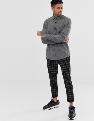 ASOS DESIGN regular fit grey flannel marl shirt