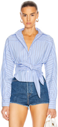 Marissa Webb Emmerson Striped Shirt in French Blue & Dark Blue Stripes | FWRD