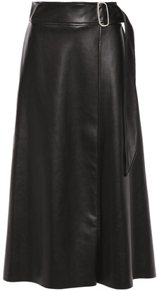 Each X Other Buckled Faux Leather Midi Wrap Skirt