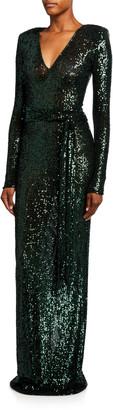 Naeem Khan Long-Sleeve Sequined V-Neck Column Gown