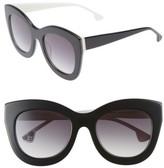 Alice + Olivia Women's Madison 56Mm Cat Eye Sunglasses - Black/ White